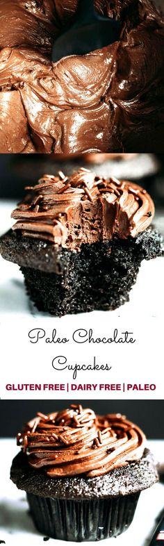 Super easy paleo chocolate cupcakes-moist, but not eggy! These paleo cupcakes have a rich, dark chocolate taste and are covered in a whipped dairy free refined sugar free chocolate frosting! Your family is going to LOVE these death by chocolate cupcakes. Paleo Cupcakes, Gluten Free Chocolate Cupcakes, Chocolate Frosting, Cupcake Recipes, Dessert Recipes, Coconut Cupcakes, Chocolate Paleo, Chocolate Granola, Sem Gluten Sem Lactose