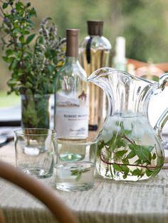 Cocktail Hour    party's signature cocktail combines elderflower liqueur, vodka, and Fumé Blanc with wild mint picked on-site.