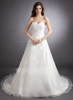 Wedding Dresses - $198.99 - A-Line/Princess Sweetheart Chapel Train Organza Wedding Dress With Ruffle Lace Beading (002000331) http://jjshouse.com/A-Line-Princess-Sweetheart-Chapel-Train-Organza-Wedding-Dress-With-Ruffle-Lace-Beading-002000331-g331