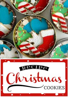 Christmas Cookies Recipe - perfect for making Christmas cookies from cookie cutters. The dough holds its shape and doesn't spread when baking. Tutorial on icing the cookies.
