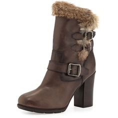 Frye Penny Lux Fur-Lined Boot ($490) ❤ liked on Polyvore featuring shoes, boots, ankle booties, ankle boots, dark grey, bunny boots, high heel boots, high heel ankle booties, short boots and fur lined boots