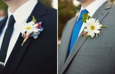 Goregeous DAISY boutonnieres - Colorful DIY Wedding: Ariana + Cody captured by Ashley Rose