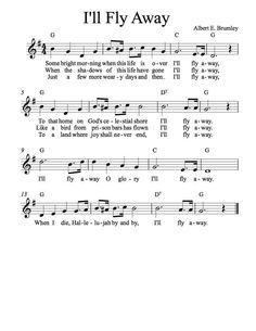 Free Sheet Music - Free Lead Sheet - I'll Fly Away - By Albert E. Brumley