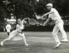 Suzanne Lenglen plays mixed doubles with René Lacoste, 1925