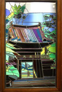 Japanese Tea Garden stained glass window from the Hilton San Francisco Union Square, window size 70''h x 41.5''w
