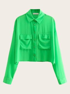 To find out about the Neon Green Dual Pocket Chiffon Blouse at SHEIN, part of our latest Blouses ready to shop online today! Green Blouse, Green Shirt, Spring Shirts, Tumblr Outfits, Blouse Online, Lingerie Sleepwear, Blouse Styles, Neon Green, Shirt Blouses