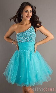 One Shoulder Turquoise Short Dress by Dave