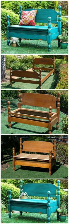 Turn an old bed into a garden bench for an undeniably adorable DIY project. - Bed Headboard - Ideas of Bed Headboard - Turn an old bed into a garden bench for an undeniably adorable DIY project. Furniture Projects, Furniture Makeover, Home Projects, Diy Furniture, Garden Furniture, Furniture Plans, Steel Furniture, Handmade Furniture, Rustic Furniture