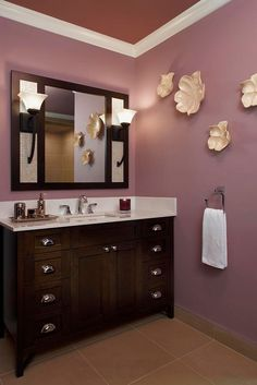 I like the mirror ceramic flowers bathroom wall decor ideas