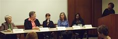 Panelists (l to r) Eleanor Clift, The Daily Beast; Michele Remillard, C-SPAN's Washington Journal; Fay Sliger, Vox Media; Laura Helmuth, The Washington Post; and Melinda Woolbright, NBC4 Washington; along with moderator Lisa Matthews, Hager Sharp (at podium).