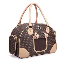 ZZBest Pet Dog Cat Carrier Bag PU Leather Tote Purse Travel Handbag Houndstooth Large * Continue to the product at the image link.