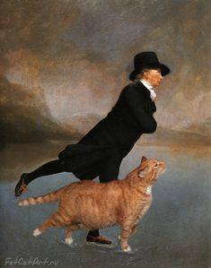 Russian artist Svetlana Petrova re-imagines classic art masterpieces with the very welcome addition of her fat Ginger Cat. Skating Minister and Cat based on Reverend Robert Walker Skating on Duddingston Loch by Sir Henry Raeburn