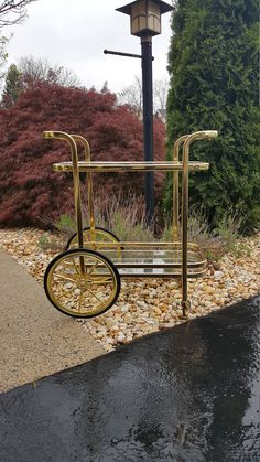 Vintage Gold Bar Cart / Brass Tea Cart / Serving Cart ~ Gold Tone Two Tier Glass Mid Century Cart by LUCKYHOMEFINDS on Etsy