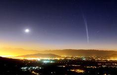 Comet Lovejoy over Santiago, Chile.