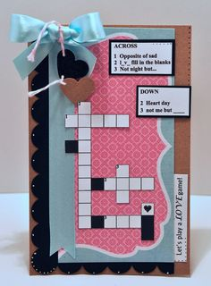This VALENTINE'S DAY CROSSWORD PUZZLE set would be perfect to make them a card.... Check out all of our Valentines Day sets at this link.