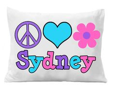 Love Flower Pillowcase Girls Flower by TheTrendyButterfly on Etsy Personalized Pillow Cases, Custom Pillow Cases, Christmas Gifts For Kids, Kids Gifts, Monogram Pillowcase, Chevron, Birthday Gifts For Boys, Heart Pillow, Flower Pillow