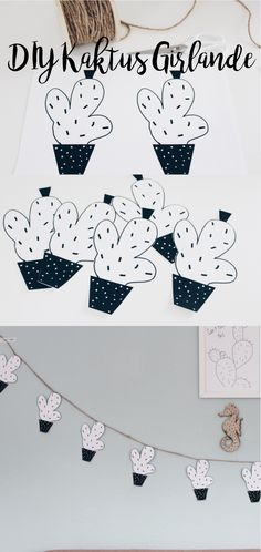 Diy Kaktus Girlande mit gratis Vorlage. Wanddeko selber machen.