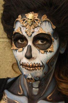 gold sugar skull makeup - Google Search