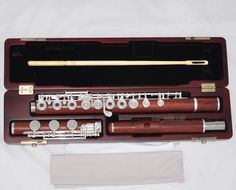 Professional New Grenadilla Rose Wooden Flute Open Hole B foot In-Line G W/Case…
