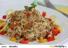 Zapečené houbové rizoto (rajčata,papriky,vejce,smetana,str.sýr)