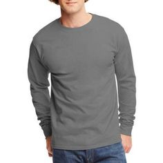 Hanes Big Men's Tagless Long Sleeve T-shirt, Size: 3XL, Gray