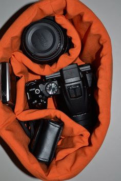 Womens camera bag Orange / Camera Bag Insert 4 your purse or backpack and photography equipment - by Darby Mack Designs. $38.00, via Etsy.