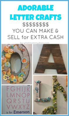 Selling these ADORABLE LETTER CRAFTS is a great way to make extra money. I found these in a local craft shop that sells space to individual vendors. Part of my series of 50+ Crafts to Make and Sell at Crafts Fairs and Flea Markets! A great list of things to make and sell…all easy ideas anyone can do,even kids and teens. Click to see all the ideas in one place.