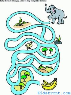Printable Maze 4 for Kids - Baby elephant is hungry. Can you help him to get bananas?, colored Picture