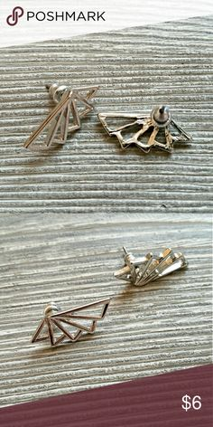 Wing Earings Pair of silver wing style geometric earings. Can wear them hanging down or going up the lobe. NWOT condition.   Bundle to save even more!! Jewelry Earrings