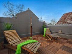 roof terrace, floating wood blocks over roof membrane (ease of repair to membrane)