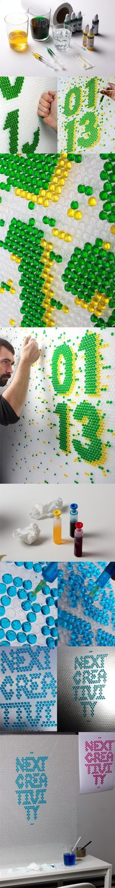 Letters by injecting colored liquid into plastic bubble wrap - losiento.net
