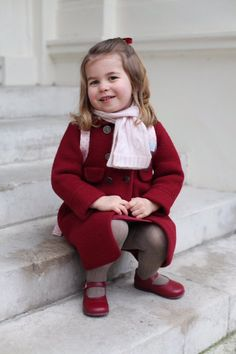 Princess Charlotte, pictured by the Duchess of Cambridge, before starting nursery school today.