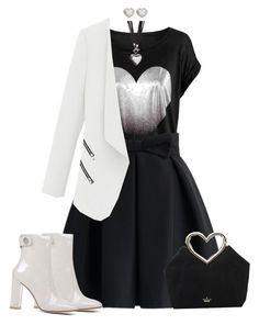 """Black & White Heart"" by kazza-smith ❤ liked on Polyvore featuring Chicwish, Kate Spade, Gianvito Rossi, M&Co, women's clothing, women, female, woman, misses and juniors"