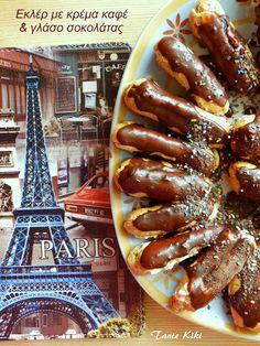 Tante Kiki: Ε όπως Εκλέρ ...τραγανές φωλίτσες με κρέμα καφέ και γλάσο σοκολάτας Hot Dogs, Sausage, Caramel, Ethnic Recipes, Blogging, Social Media, Food, Tips, Etsy