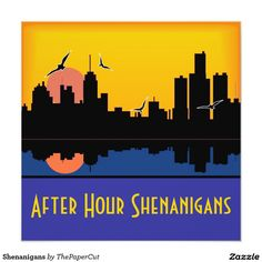 Shenanigans Card - $2.63 - Shenanigans Card - by #RGebbiePhoto @ #zazzle - #City #Sunset #Skyline - Sunset skyline over water, illustrated in blue and gold. After Hour Shenanigans! Hostess a fun party for your Bachelorette! Send the Bride to Be off in style with these city life invitations!