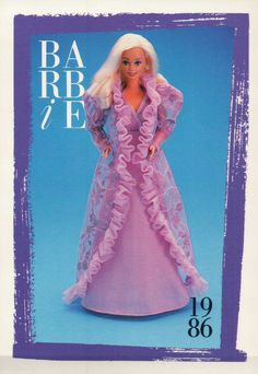 1986 Barbie Collectible Fashion Trading Card Dream Glow Fashions Nightgown