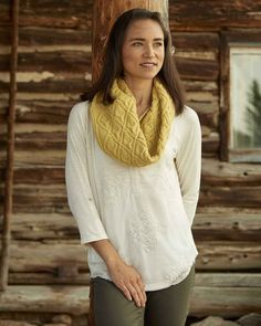 warm cider cowl by thea colman / from weekend wraps: 18 quick knit cowls, scarves & shawls (interweave) / in quince & co. lark, color goldfinch
