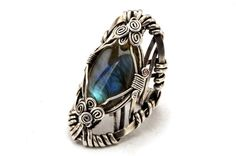 Labradorite Ring  Oxidized Silver Plated Ring  Wire by HyppieChic