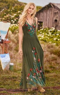 sage green with colorful embroidery Sundance Catalog #gypsyfashion,