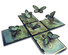 magic boxes: Magic Box - Mica Butterflies link to tutorial on right side of page Pop Up Box Cards, 3d Cards, Folded Cards, Card Boxes, 3d Templates, Exploding Box Card, Magic Box, Butterfly Cards, Butterfly Wings