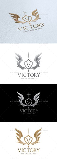 Victory by LayerSky Logo Template Scalable Vector Files Everything is editable Everything is resizable Easy to edit color / text Free fon V Logo Design, Create Logo Design, Three Letter Logos, Crest Logo, Watch Tattoos, Color Text, Luxury Logo, Game Logo, All Fonts