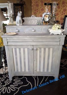 Painted furniture using Paint Couture!(TM) Love the stripes.  By Delaware Annex.
