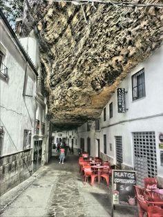 Setenil de las bodegas, an amazing rock village in Cadiz (Andalusia, Spain) Places Around The World, Oh The Places You'll Go, Travel Around The World, Places To Visit, Around The Worlds, Vacation Places, Places To Travel, Voyage Europe, Strange Places