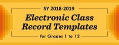 DepEd Official E- Class Record Templates for Grades 1 to 12 for SY NEW! Official Electronic Class Record for SHS (Grade Summative Test, Kindergarten Lesson Plans, Behavior Management, School Teacher, Public School, Grade 1, Assessment, Templates, Teaching
