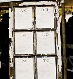 typed window pane escort card - and alphabetical!