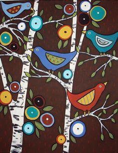 Birds in the Birch Trees Karla Gerard Canvas Giclee Print Karla Gerard, Art Fantaisiste, Art Populaire, Naive Art, Whimsical Art, Art Plastique, Tree Art, Bird Art, Oeuvre D'art