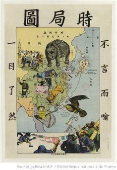 Carte allégorique en japonais représentant l'Extrême-Orient
