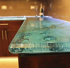 We Create Stunning Architectural Specialty Art Glass Colorfuse glass counter top by Gomolka Design Studio Epoxy Countertop, Countertop Materials, Kitchen Countertops, Recycled Glass Countertops, Kitchen Backsplash, Slumped Glass, Sandblasted Glass, Etched Glass, Glass Kitchen