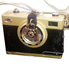 """Tigerstars l $46.00 Designer Inspired """"Say Cheese"""" Gold Black Camera Case Novelty Handbag"""