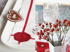 christmas table decoration {red and white}